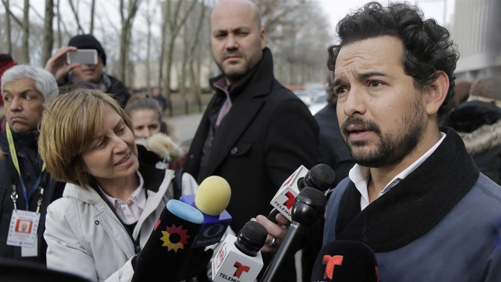 A surreal moment: Alejandro Edda outside the court PICTURE: AP