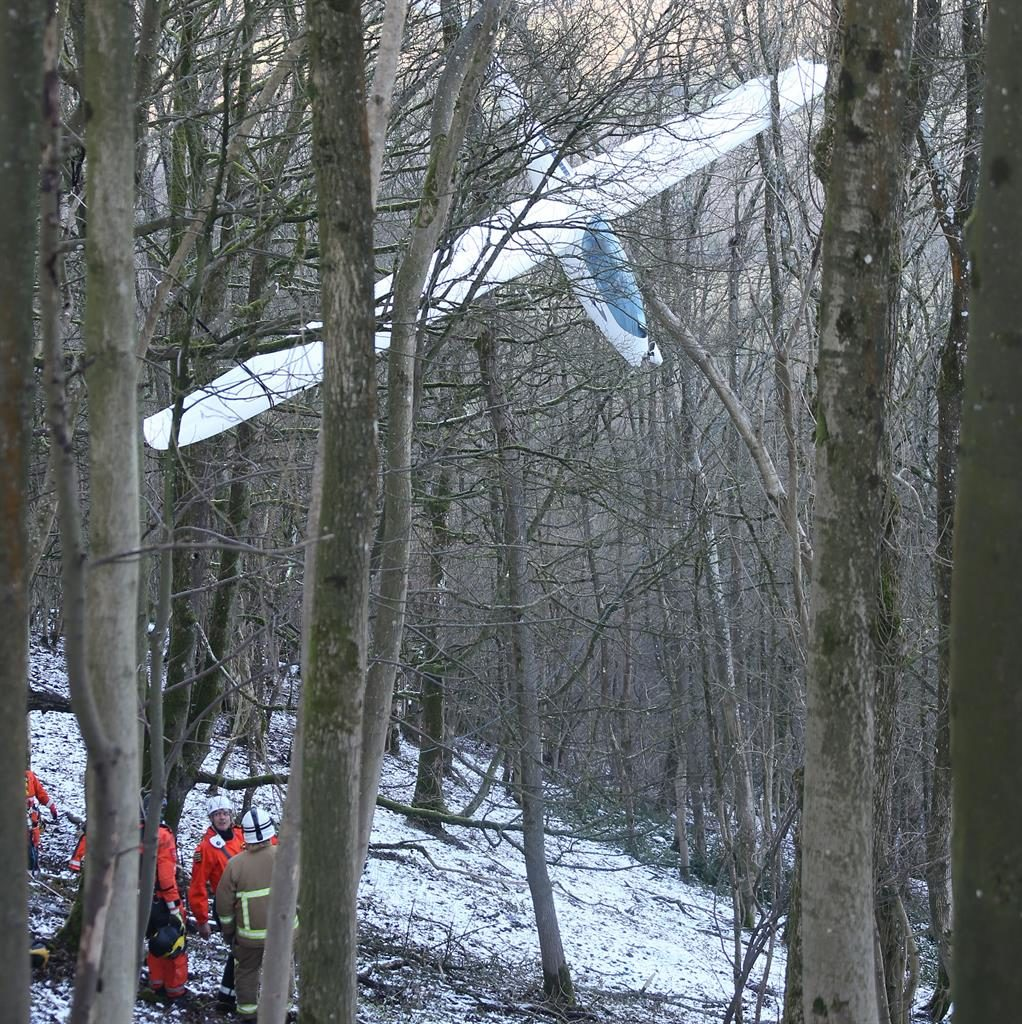 Dangling: The glider stuck in the trees