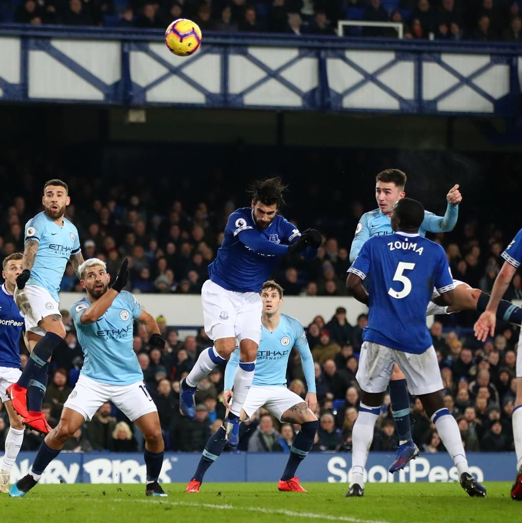 Air 'porte: Everton's defence is powerless to prevent Laporte climbing to break the deadlock PICTURE: GETTY