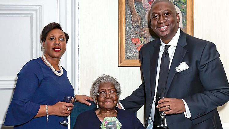 Family favourites: Olive Brown with Carlton and his wife Marvely at the launch PICTURES: SWNS