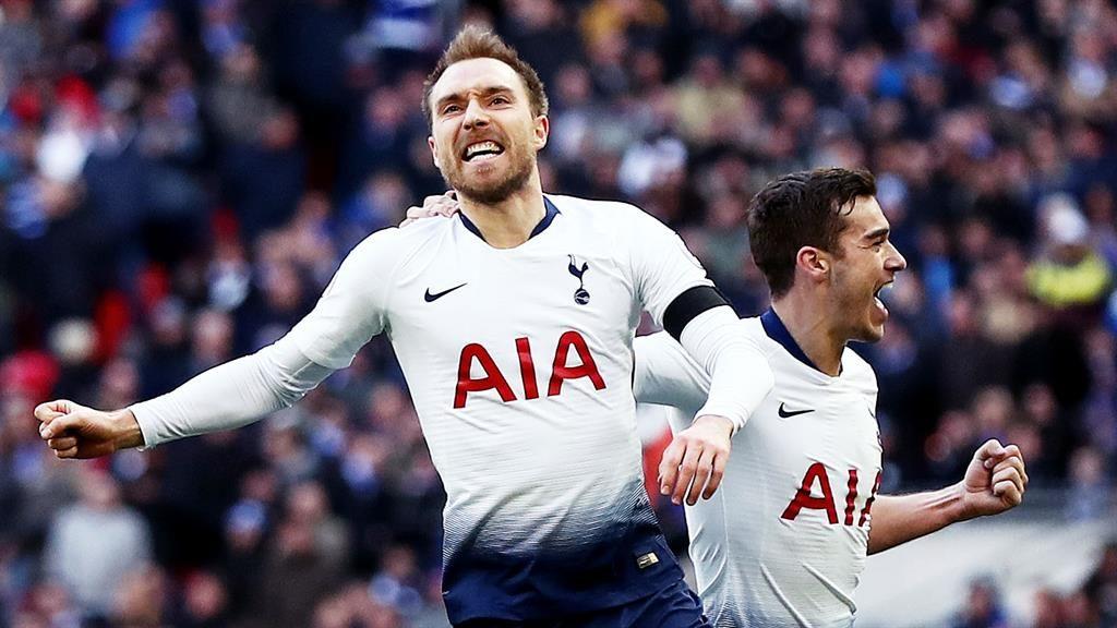 Fox hunt: Eriksen celebrates scoring Tottenham's second PICTURE: REX