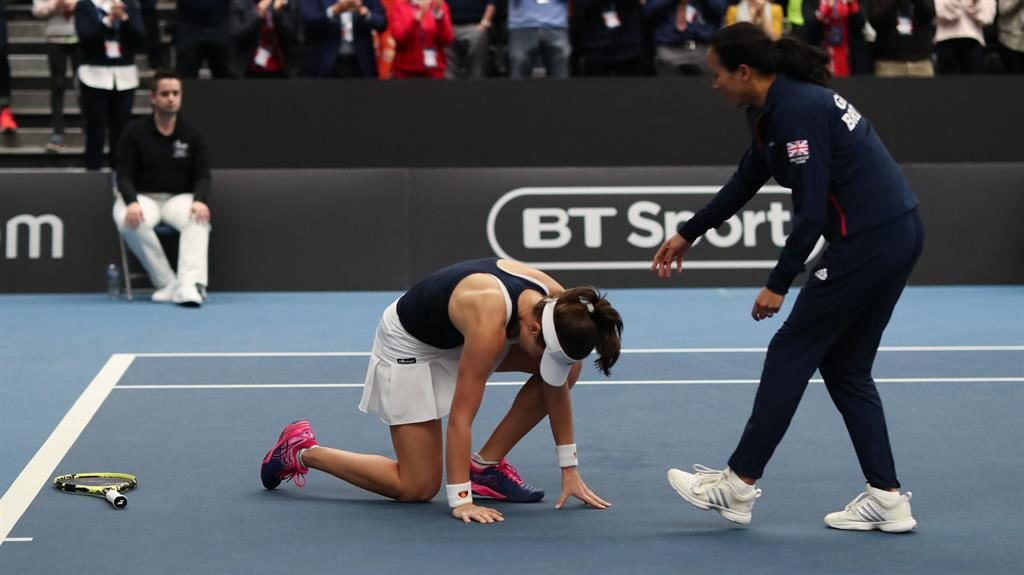 Out of body: Konta collapsed but won PICTURE: REX