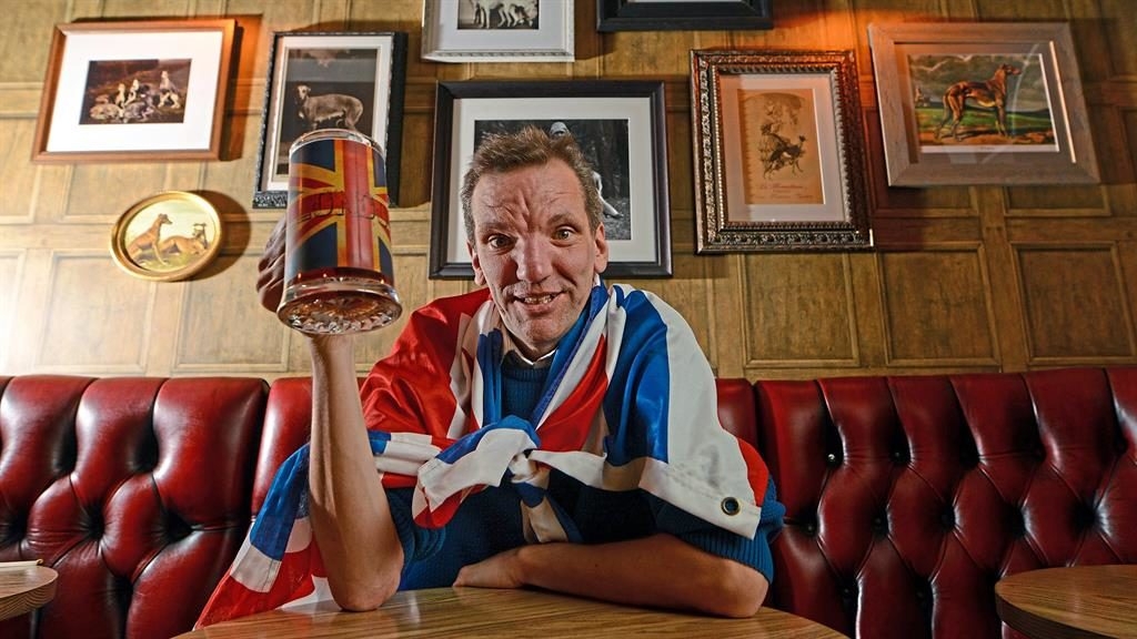 Ale and hearty:. Henning Wehn refreshes his bulldog spirit PICTURES: DANIEL LYNCH AT THE GREYHOUND, KENSINGTON, WEST LONDON