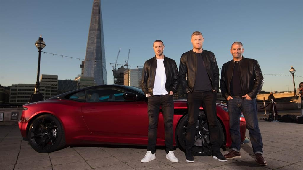 Revving up: Freddie Flintoff with co-hosts Paddy McGuinness (left) and Chris Harris (right)