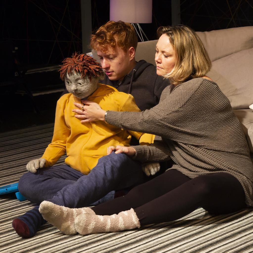 Family tensions: Charlie Brooks with puppeteer Hugh Purves as Laurence