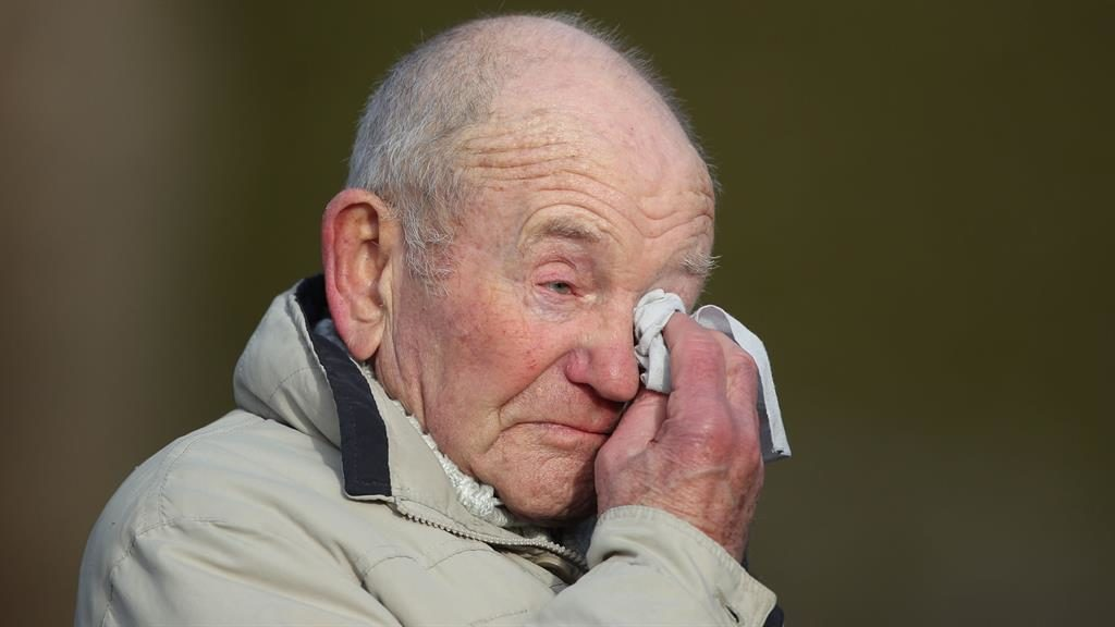Emotional: Tony Foulds is overcome during the flypast PICTURES: PA