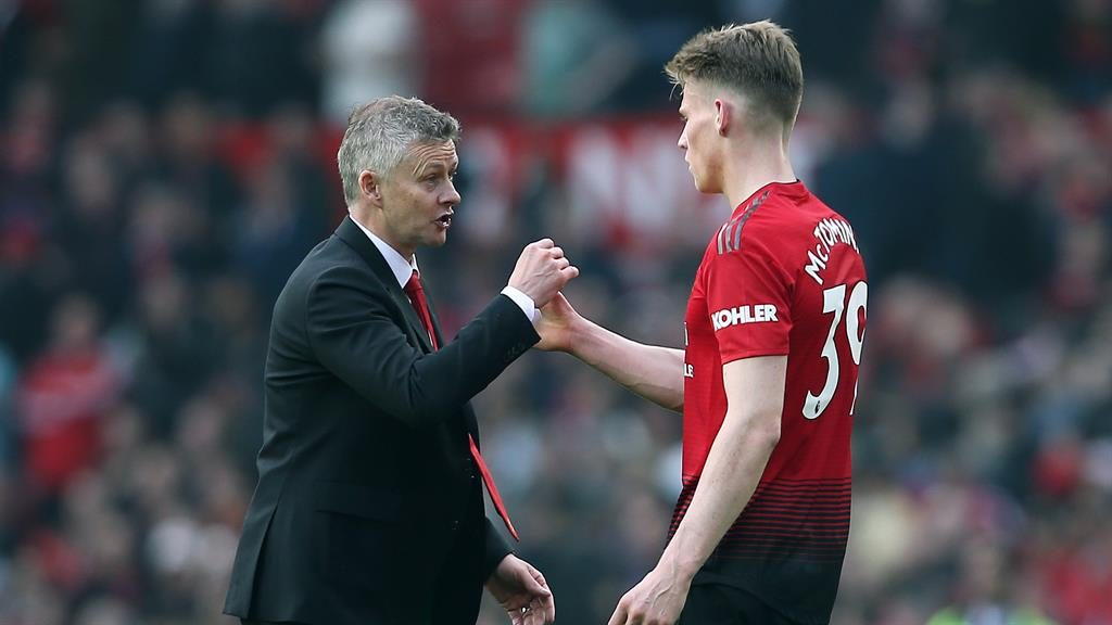 Young gun: Solskjaer with Scot McTominay who stepped up successfully against Liverpool when a raft of players went off with injuries PICTURE: REX