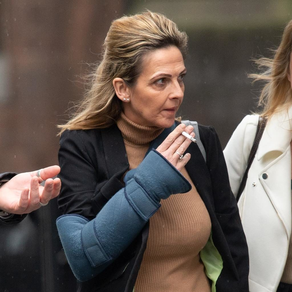 'Red mist': Alison Yorston in a sling as she leaves court yesterday PICTURE: CAVENDISH