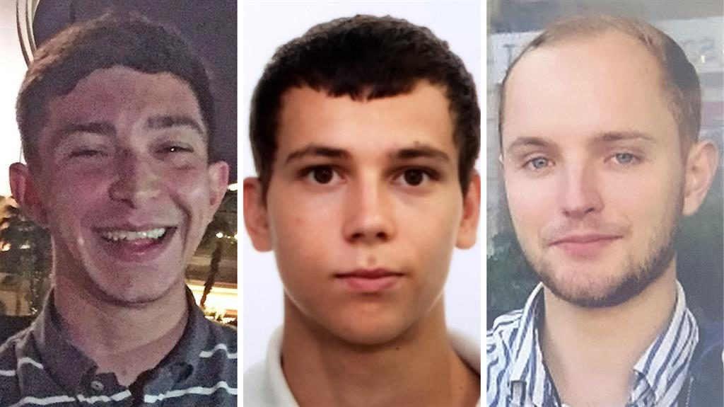 Accidental deaths: (From left) Jack Gilbert, Alberto Fresneda Carrasco and Harrison Scott-Hood were killed when they were struck by a train PICTURES: SWNS