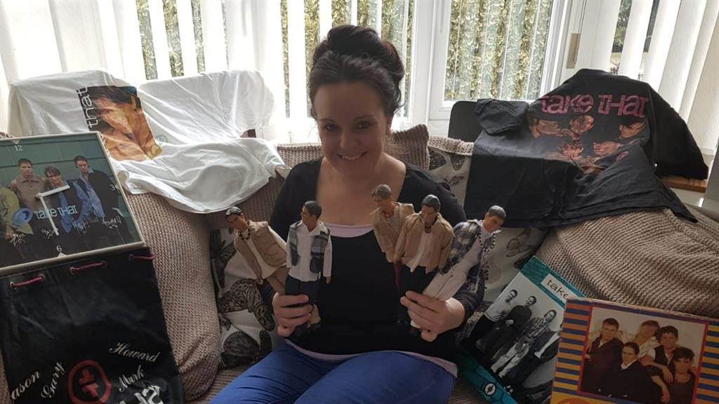 'Biggest fan': Teresa with just some of her prized collection of Take That merchandise