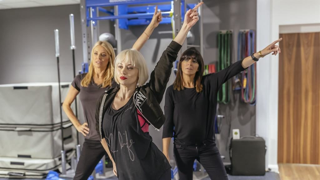 Putting in work: Daly and Winkleman, led by Kimberley Wyatt, in training as they prepare to take on the longest ever danceathelon for Comic Relief
