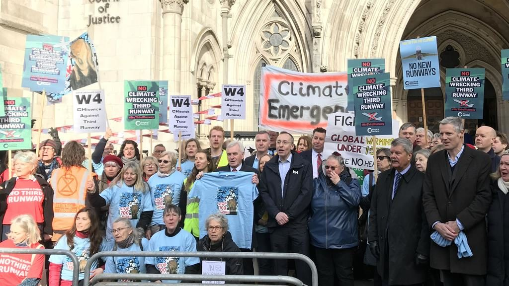 Unhappy landing: Zac Goldsmith (above right) joins protesters outside High Court PICTURE: PA