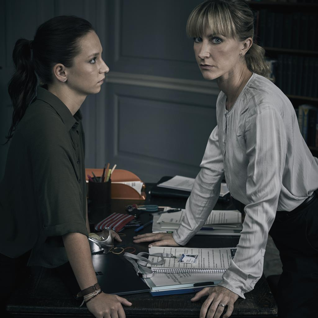 Turning up the Cheat: Molly Windsor (Rose) in a stand-off with Katherine Kelly as lecturer Leah in the ITV drama PICTURES: ITV