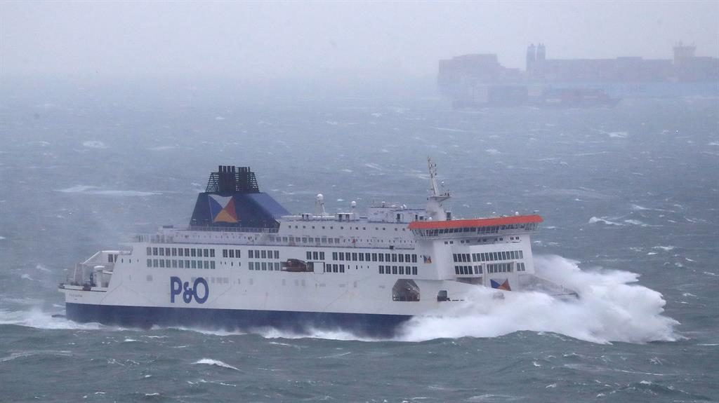Heavy weather: A ferry arriving at Dover in rough seas yesterday PICTURE: PA