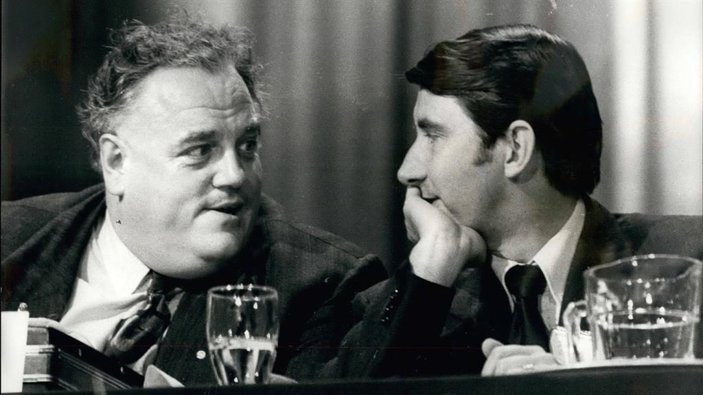 Meeting: Cyril Smith (far left), with the then leader Lord David Steel at a party conference in 1978 PICTURE: REX