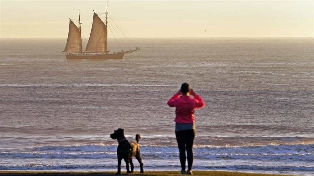 On the beach: The 'tall ship' William II sails along the north-east coast near Whitley Bay, Tyne and Wear