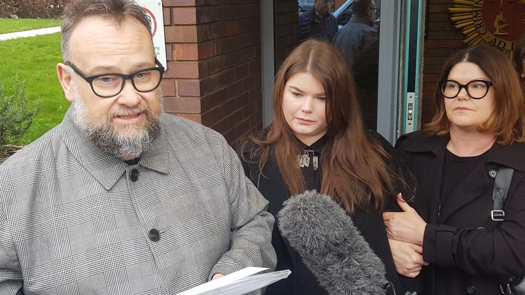 'Completely innocent': David Squire and Tracy Dodd with their daughter Molly Anderson (centre) outside Sheffield Coroner's Court PICTURES: PA