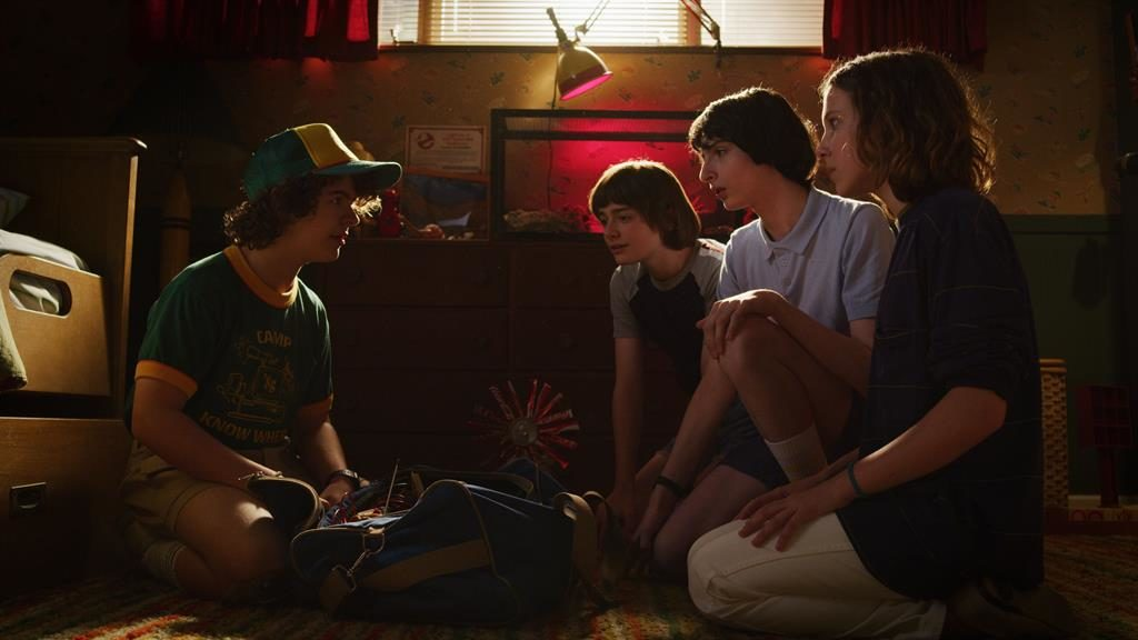 Even stranger: The show's friends (from left) Gaten Matarazzo, Noah Schnapp, Finn Wolfhard and Millie Bobby Brown return to our screens in July PICTURES: PA