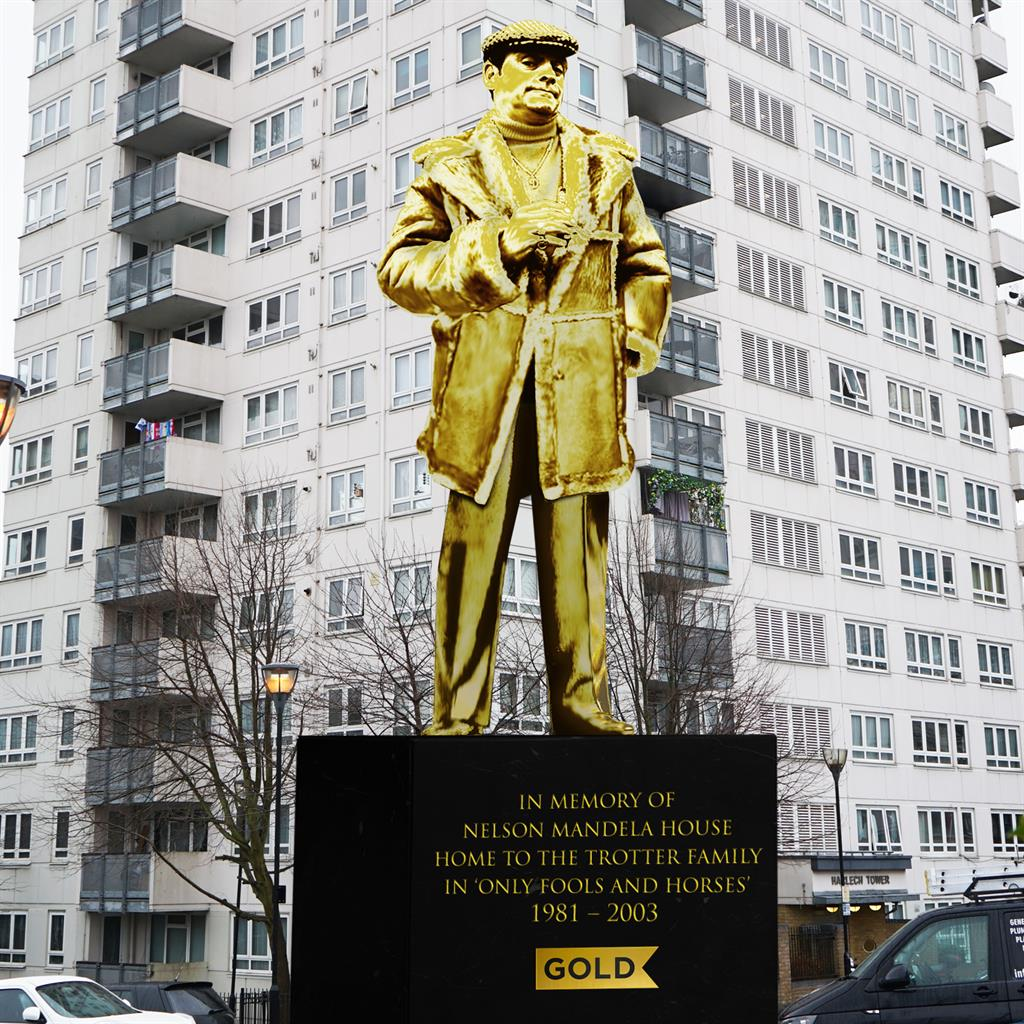 TV gold: The mock-up of the Del Boy statue
