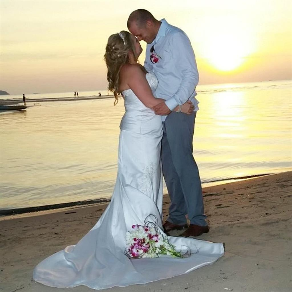 'Shock': Natalie and Paul Fitzpatrick get married and (below) after the accident PICTURES: SWNS