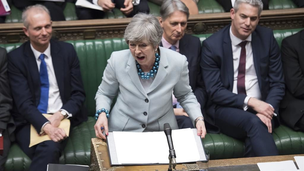 Frustration: Mrs May in Commons PICTURES: EPA
