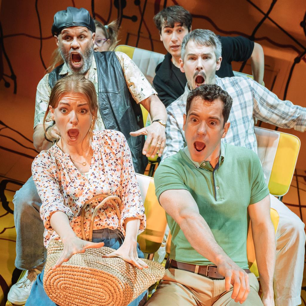 Battle of swerves: The cast including Laura Pitt-Pulford and Gabriel Vick (front) on their journey across America PICTURE: MANUEL HARLAN