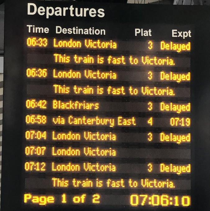 Delays: The board at Bromley South