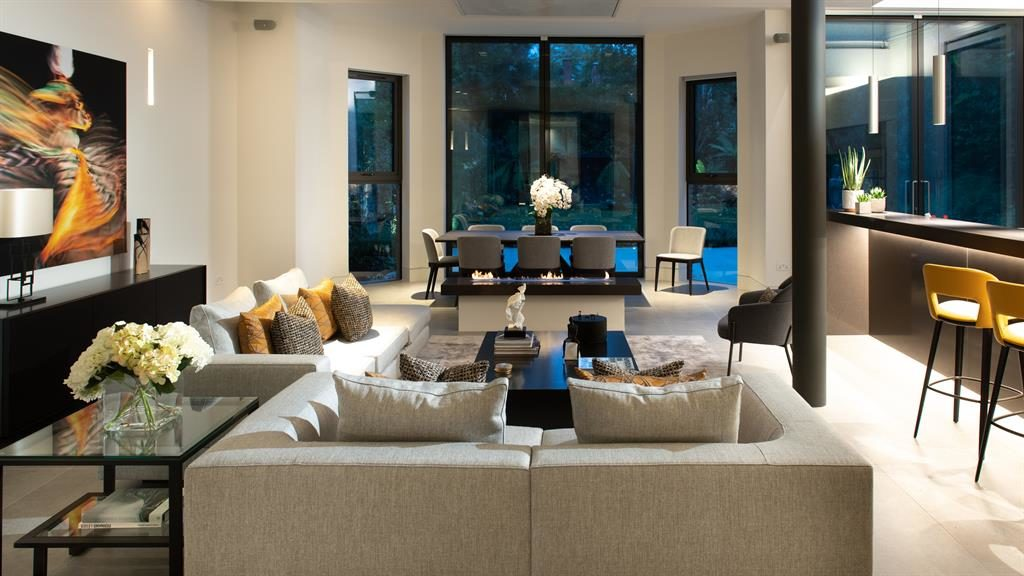 Expansive: The lounge is ultra-modern with impressively high ceilings