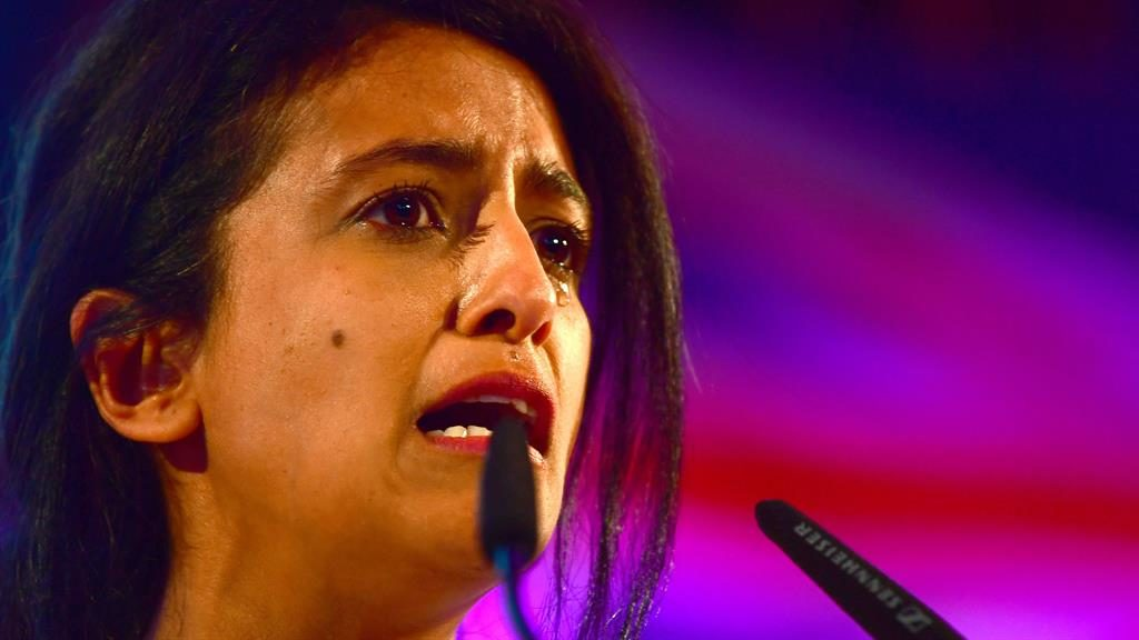 Needs a Huq: Konnie Huq sheds a tear in her speech PICTURE: PA