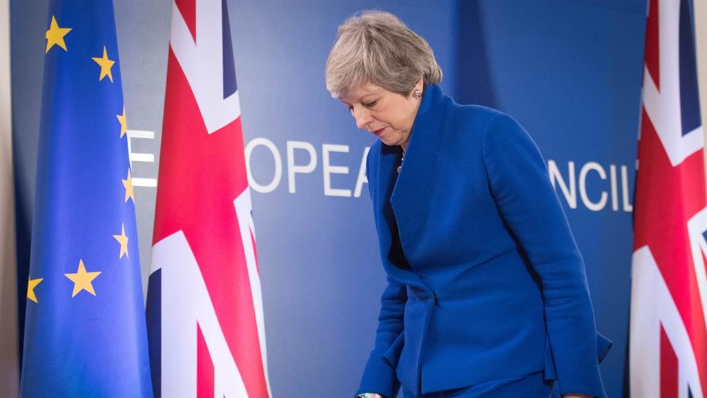 It's not over 'til it's over: Theresa May leaves a news conference after Brussels chiefs granted the UK an EU membership extension PICTURES: PA/GETTY/AP