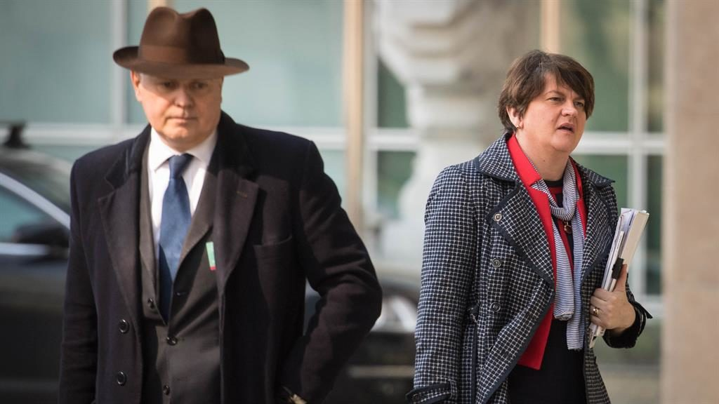 Backstop talks: Iain Duncan Smith and Arlene Foster in Brussels yesterday PICTURE: PA