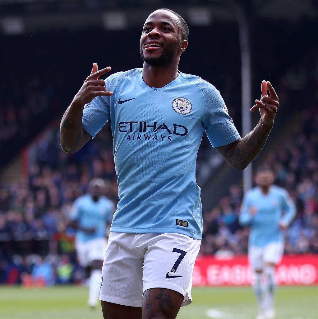 Two of a kind: Sterling celebrates his second goal PICTURE: GETTY