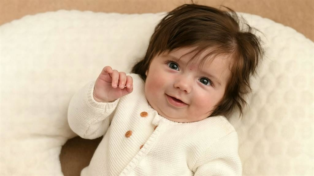 Marvelous mullet: Baby Vienna was born with a full head of hair