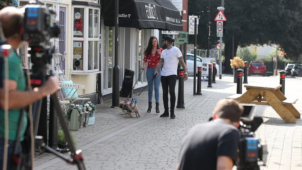 Starring role: Two cast members film an episode of Towie in Brentwood