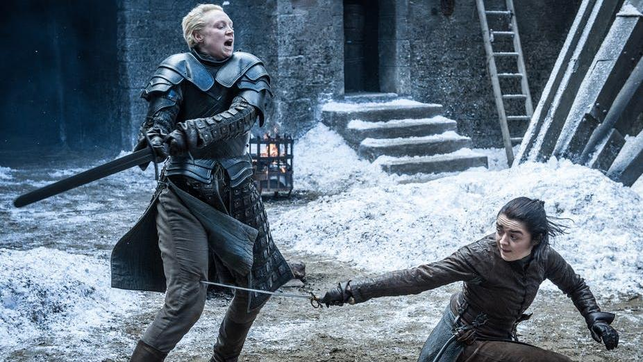 Warrior women: Brienne of Tarth, left, and Arya Stark sparring PICTURE: ©2017 HOME BOX OFFICE, INC
