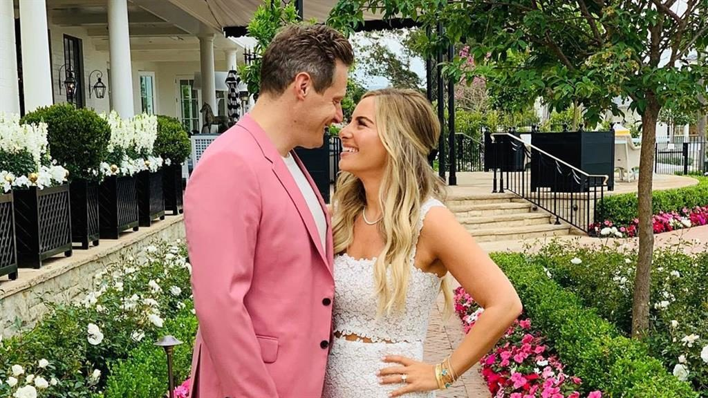 In the pink: Trevor Engelson with bride
