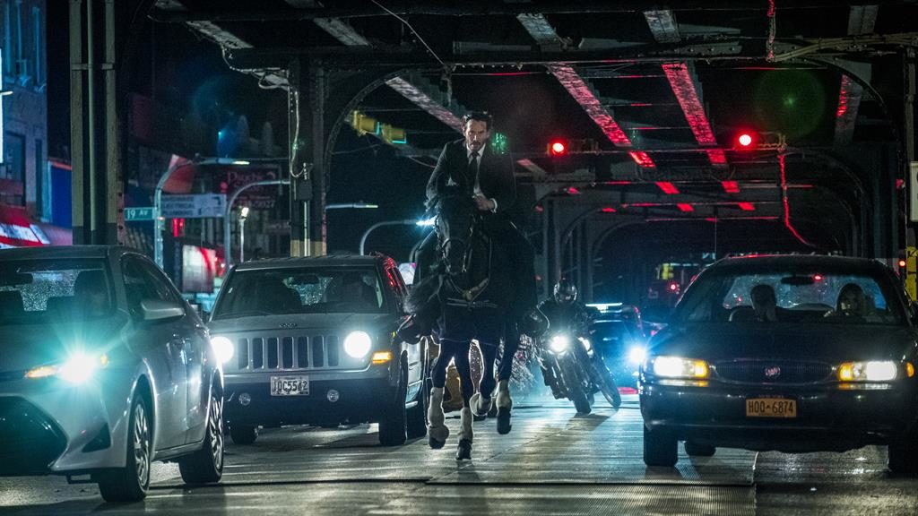 Horse play: Keanu and his equine chum take on bikers in the midst of Manhattan