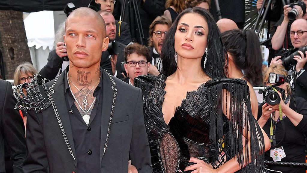 Hot property: Meeks with Instagram star Andreea Sasu at last night's premiere, and (below) with fiancée Chloe Green PICTURES: REX/PA