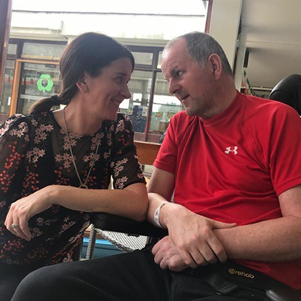 Progress: Sean Cox with wife Martina