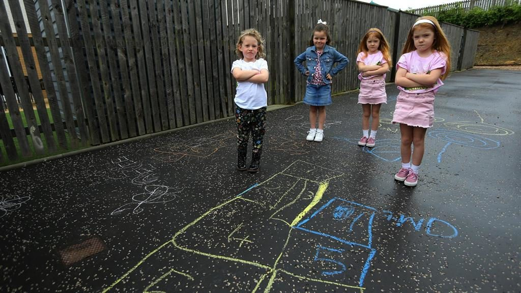 Top marks: Children were told to stop drawing in chalk but Speirs Gumley apologised after an outcry from parents PICUTRES: SWNS