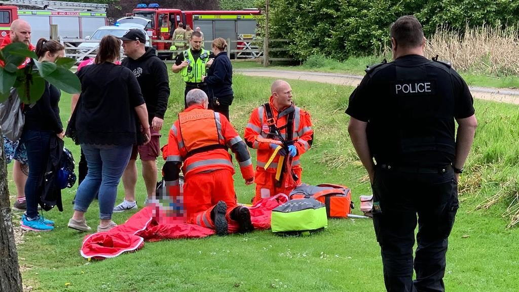 Horror scene: Emergency services at Lightwater yesterday, and (below) student Gemma Savage who died on a ride at the park in 2001 PICTURES: GETTY/SWNS