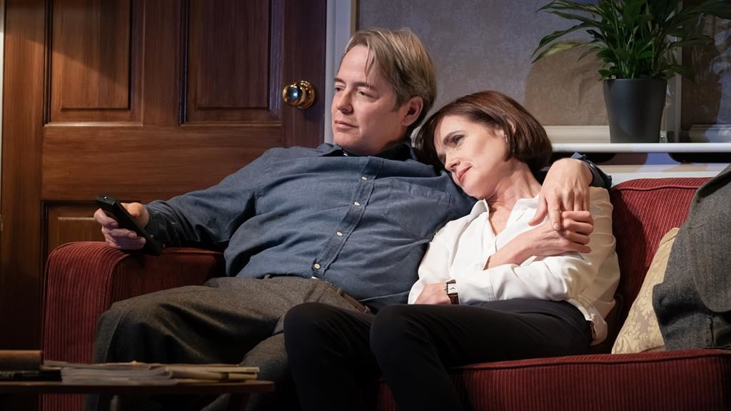 Sofa so good: Broderick is beautifully watchable in domestic drama with 'brightly brittle' wife Anne (Elizabeth McGovern)