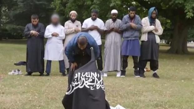 Jihadi: Butt (third left) in TV documentary
