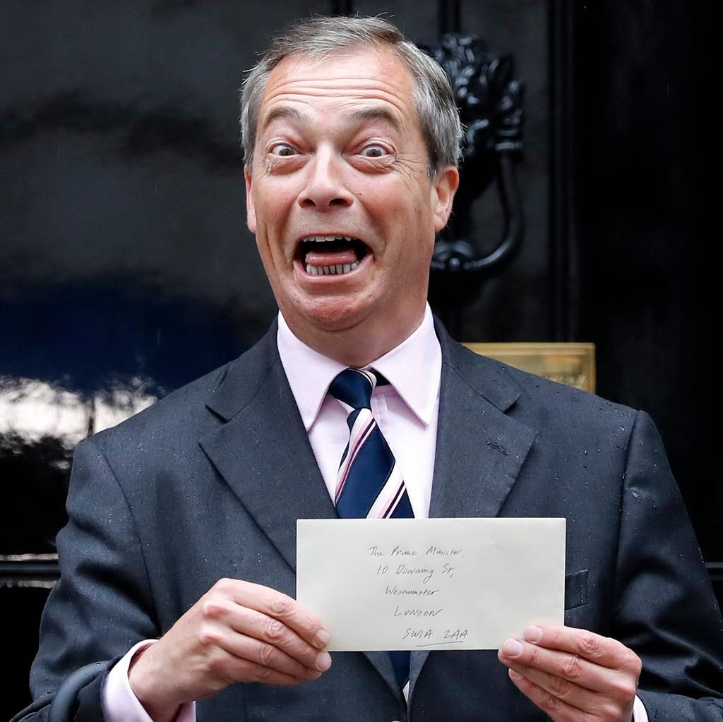 Here to help: Farage outside No.10 PICTURE: GETTY