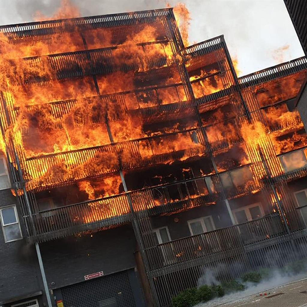 Ferocious: The blaze takes hold at De Pass Gardens in Barking PICTURES: @MOBEE_ME/@SYED ISLAM/ELLA MILWARD