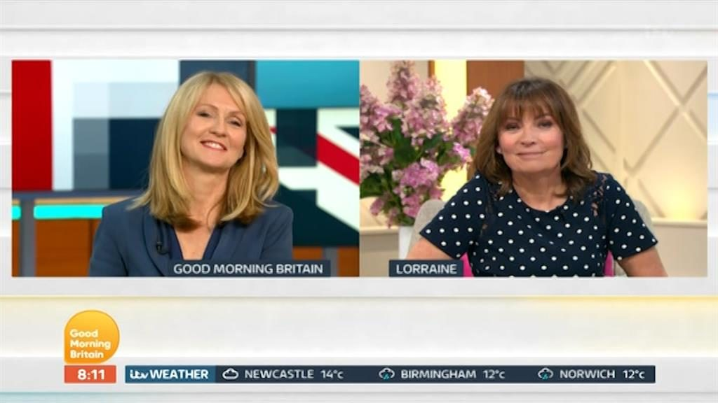 Squirming: Esther McVey in GMB studio as Lorraine Kelly is quizzed about her PICTURE: ITV