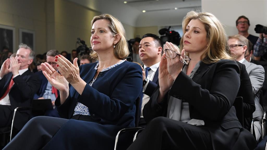 Big-name backers: Amber Rudd and Penny Mordaunt applauding Jeremy Hunt