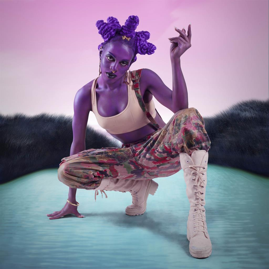Going gloriously glam: Juliana Huxtable's Psychosocial Stuntin'; then (below) Huxtable's Lil' Marvel; Martine Gutierrez's Demons, Tlazolteotl 'Eater of Filth'; Luciano Castelli's Goldene Schallplatte 3; and Flo Brooks's statement roundel