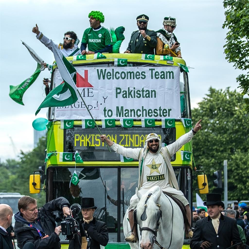 That's how you make an entrance: A Pakistan fan makes his way to the game on horseback PICTURE: LNP
