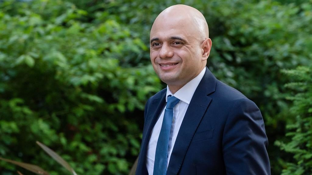 Confident:  Sajid Javid arrives for the weekly Cabinet meeting at 10 Downing Street earlier today PICTURE: REX